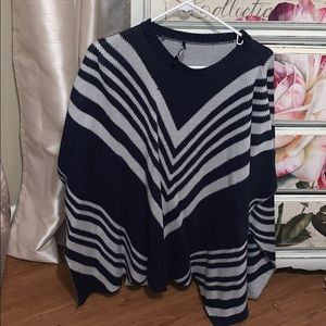 Navy blue and gray poncho